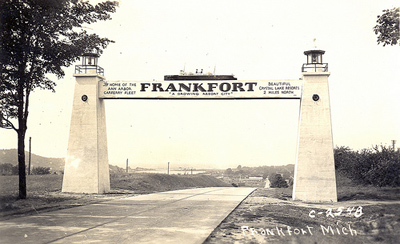 Frankfort Arch welcoming travellers along M-115 since 1938.