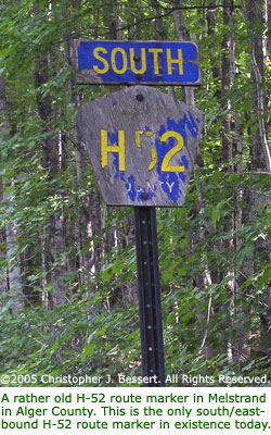 H-52 route marker in Alger County.